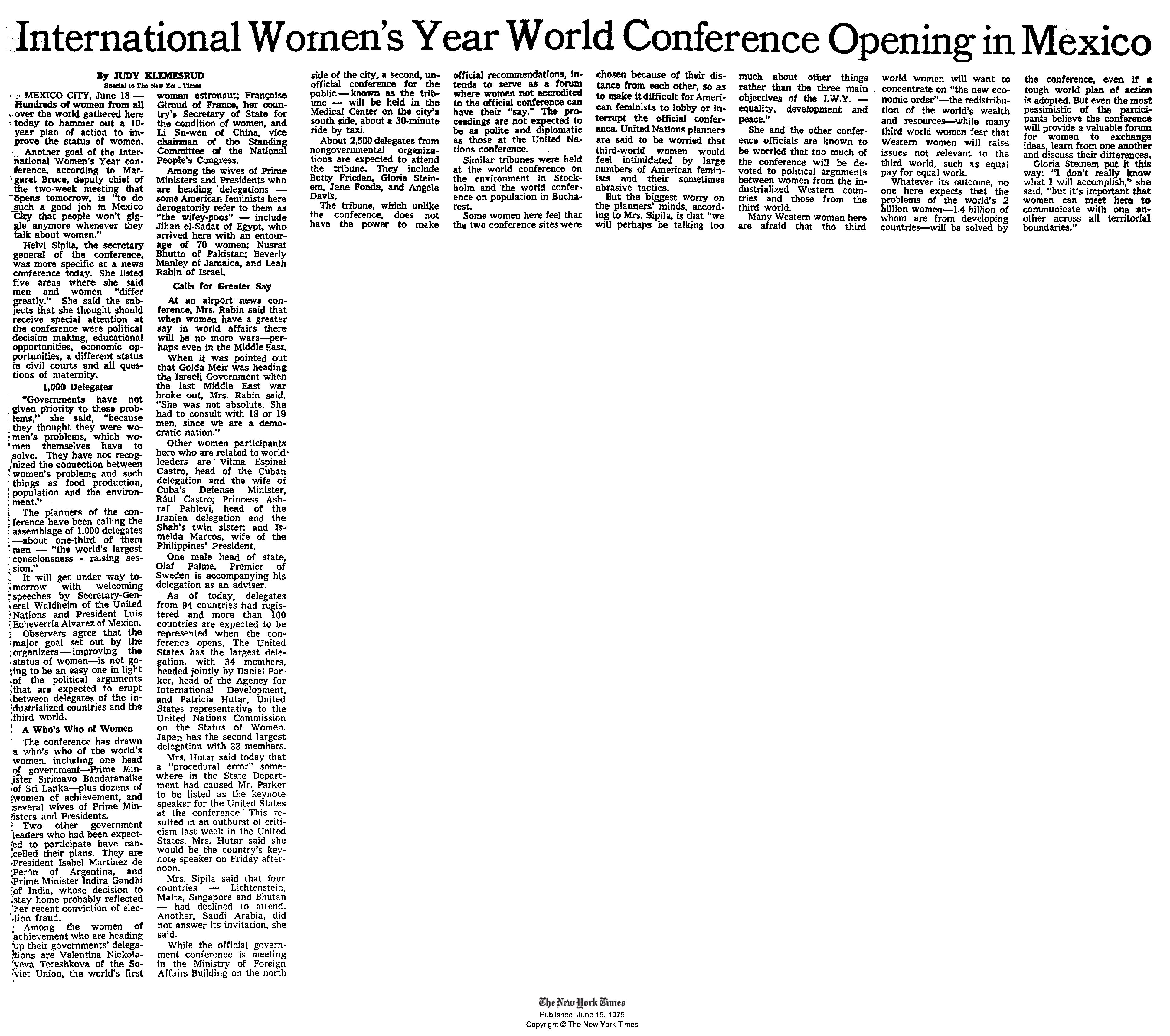 New York Times Article on First UN Women's Conference, 1975