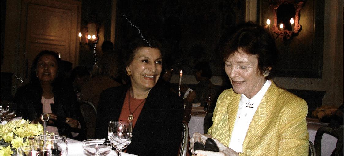 Mary Robinson and Mahnaz Afkhami at Bellagio, Italy